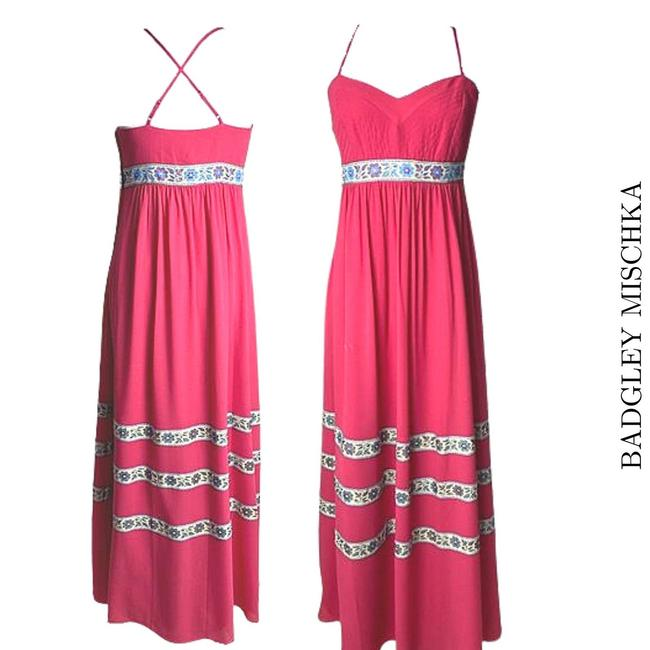Item - Pink Embtoidered Trim Long Casual Maxi Dress Size 12 (L)