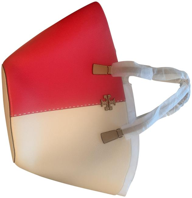 Item - Mcgraw Color-block Shopper Red and White Leather Tote
