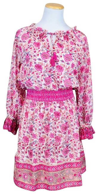 Item - Pink Love The Label Boho Floral Festival Peasant Mid-length Short Casual Dress Size 2 (XS)
