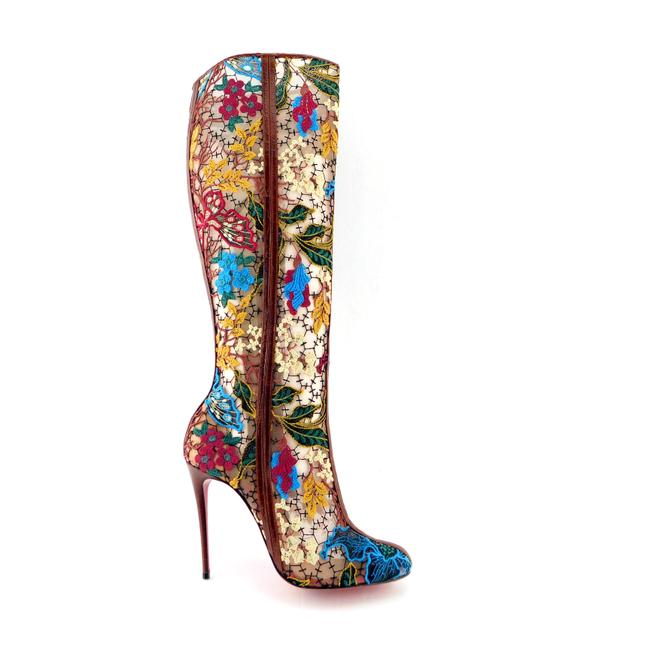 Item - Brown Floral Embellished Mesh Knee High Boots/Booties Size EU 39 (Approx. US 9) Regular (M, B)