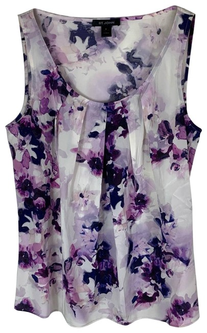 Item - Purple Floral Silk Tank Womens Small Blouse Size 4 (S)