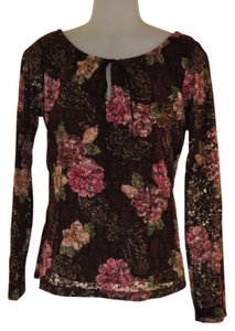 Ninety Top Brown with Floral Print