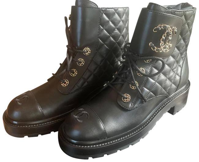 Item - Cc Quilted Lace Up Combat Leather Boots/Booties Size EU 39 (Approx. US 9) Regular (M, B)