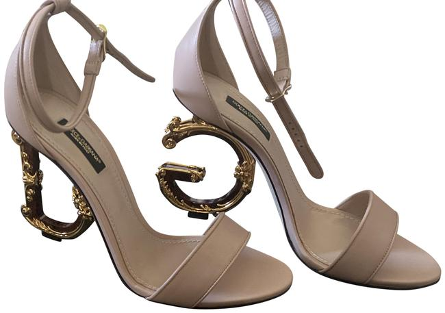 Item - Pale Pink Nappa Leather with Baroque D&g Heel Sandals Size EU 38.5 (Approx. US 8.5) Regular (M, B)