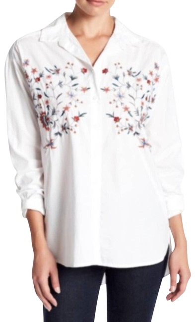 Item - White Beach Lunch Lounge Floral Embroidered Shirt Button-down Top Size 4 (S)