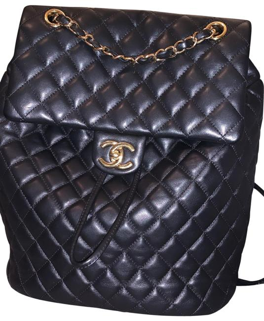 Item - Urban Spirit Quilted Black Lambskin Leather Backpack