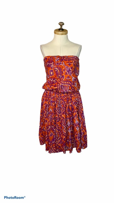 Item - Pink / Orange Kingston Strapless Tiered Cotton Mid-length Short Casual Dress Size 6 (S)