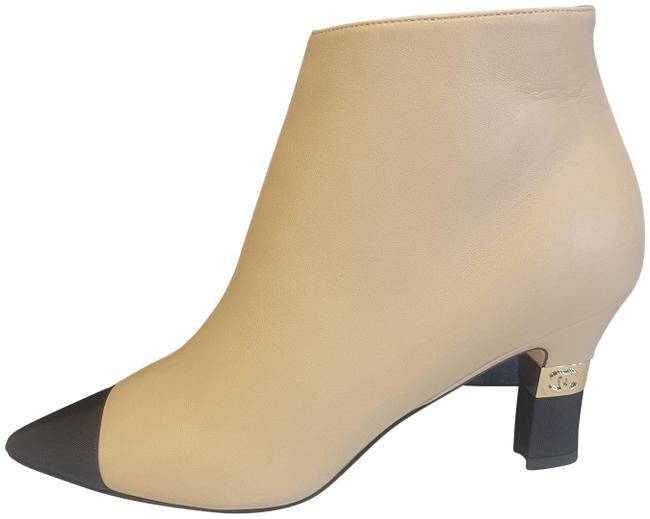 Item - Beige/Black 20p Two Tone Leather Cap Toe Cc Signature Metal Heel Ankle Boots/Booties Size EU 37.5 (Approx. US 7.5) Regular (M, B)