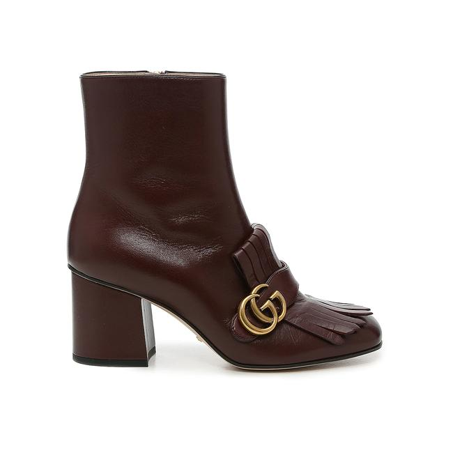 Item - Dark Burgundy Marmont Gg Fringed Leather Boots/Booties Boots/Booties Size EU 34.5 (Approx. US 4.5) Regular (M, B)