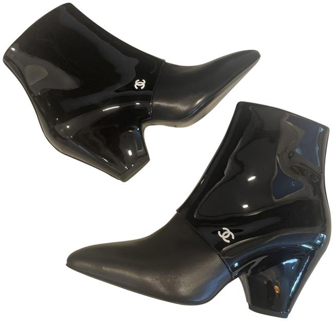 Item - Black 20c Patent Leather Split Wedge Heel Ankle Boots/Booties Size EU 38 (Approx. US 8) Regular (M, B)