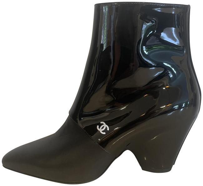 Item - Black 20c Patent Leather Split Wedge Heel Ankle Boots/Booties Size EU 39.5 (Approx. US 9.5) Regular (M, B)