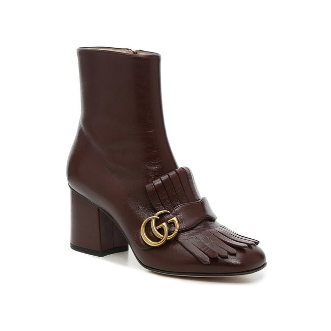 Item - Dark Burgundy Marmont Gg Fringed Leather Boots/Booties Boots/Booties Size EU 37 (Approx. US 7) Regular (M, B)