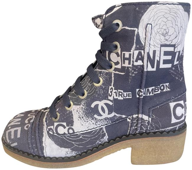 Item - Navy Blue/White 19p Signature Painted Printed Tweed Lace Up Combat Flat Boots/Booties Size EU 36 (Approx. US 6) Regular (M, B)