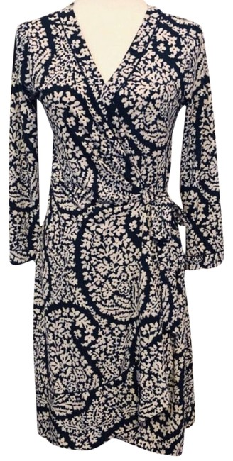 Item - Navy Blue Paisley Floral Wrap Mid-length Work/Office Dress Size 6 (S)