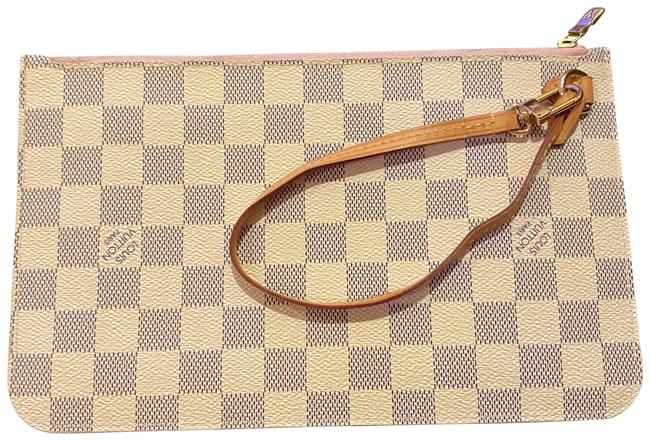 Item - Neverfull Damier Azur Pouch Wristlet Gray White Pink Canvas Clutch