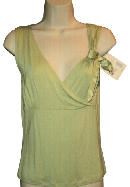 Item - 341 Celery Green Empire Waist Crossed Bodice Ribbon Bow Accent Tank Top/Cami Size 6 (S)