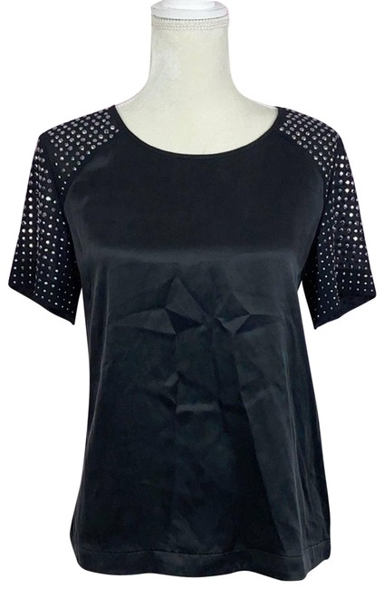 Item - Black Silk and Studded Blouse Size 4 (S)