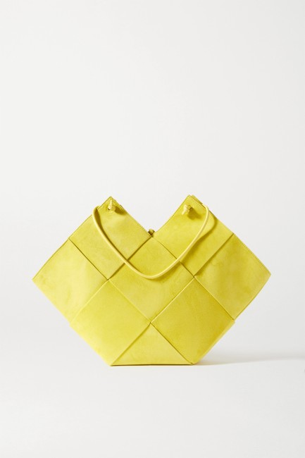 Item - Flower Basket Medium Yellow Intrecciato Suede and Leather Tote