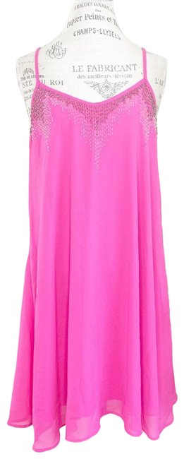Item - Pink Flowy Hot Strappy Short Casual Dress Size 14 (L)