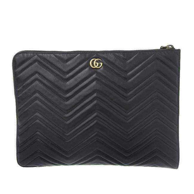 Item - GG Marmont 523397 Black Leather Clutch