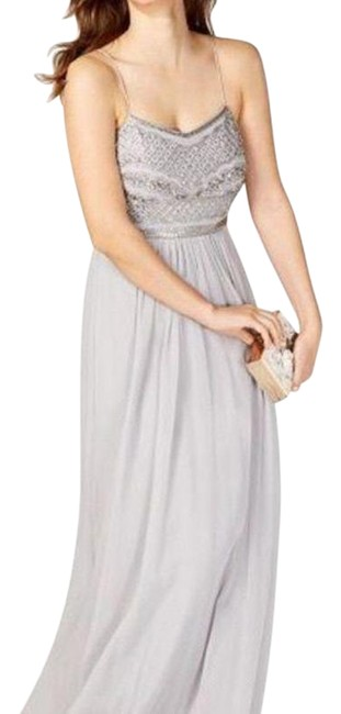 Item - Silver Gray Beaded Chiffon Gown Long Cocktail Dress Size 6 (S)