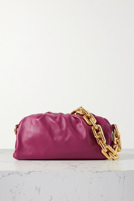 Item - The Chain Pouch Claret Gathered Leather Clutch