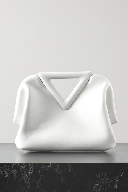 Item - Point Small White Leather Tote