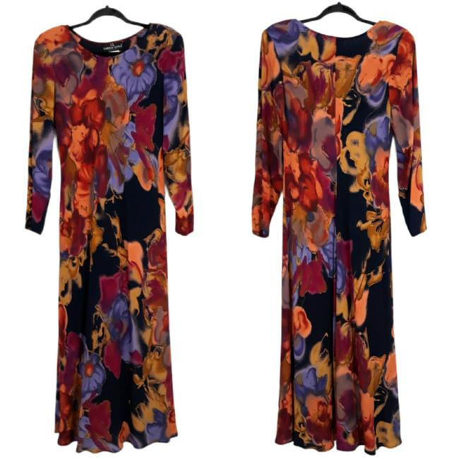 Item - Black Vintage 80s Abstract Floral Long Casual Maxi Dress Size 8 (M)