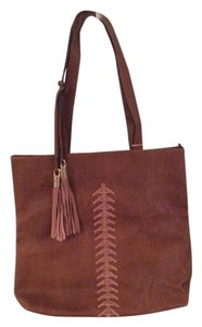 Alyssa Vegan Suede Leather Handbag Tote in Brown