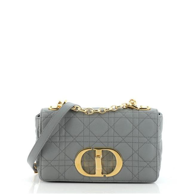 Item - Caro Cannage Quilt Calfskin Small Gray Leather Cross Body Bag