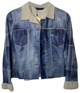 Audrey Talbott Lambs New With Tags Patchwork Blue Leather Jacket