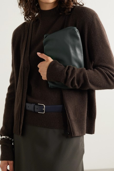 The Row Bourse Army Green Leather Clutch The Row Bourse Army Green Leather Clutch Image 2