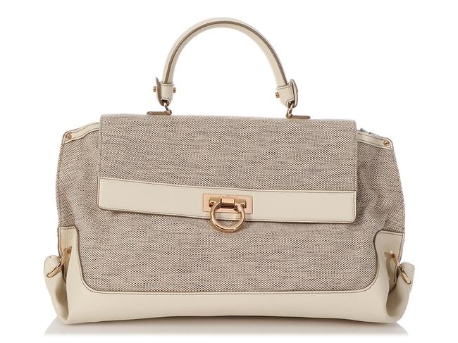 Item - Fabric and Sofia Beige Leather Satchel
