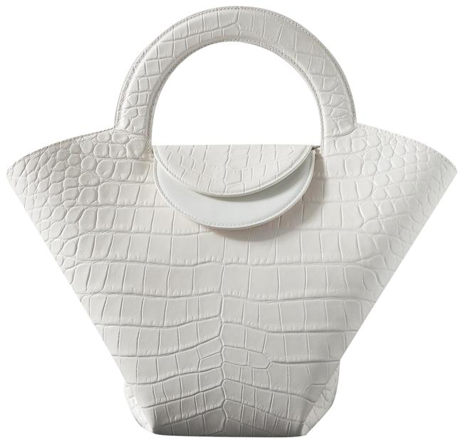 Item - Doll Small White Croc-effect Leather Tote