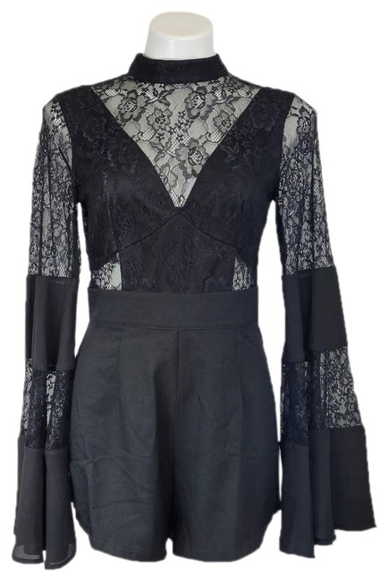 Item - Black Bell Sleeve with Lace Romper/Jumpsuit