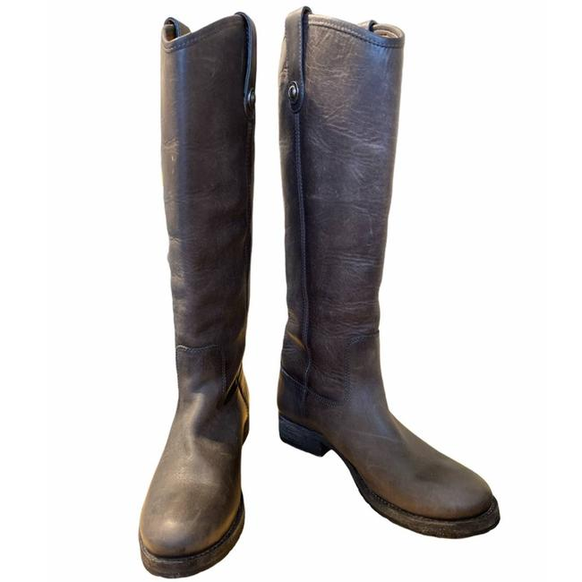 Item - Gray Melissa Button Lug Leather Tall Boots/Booties Size US 6 Regular (M, B)