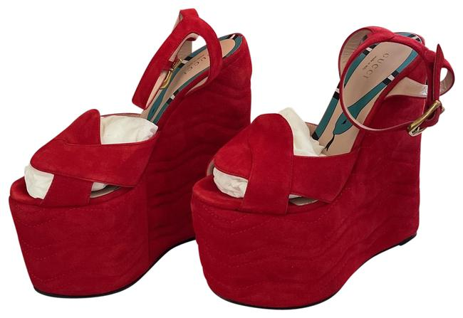 Item - Hibiscus Red Sally Suede Wedge Sandals Platforms Size EU 37.5 (Approx. US 7.5) Regular (M, B)