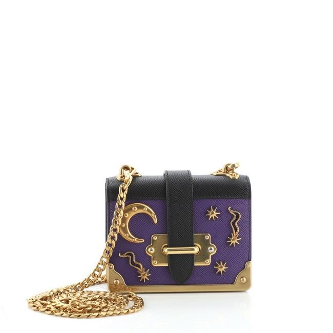Item - Cahier Embellished Micro Purple Leather Cross Body Bag