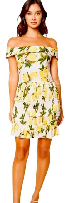 Item - Ivory Green and Yellow Lemon Print Off-shoudler Short Casual Dress Size 4 (S)