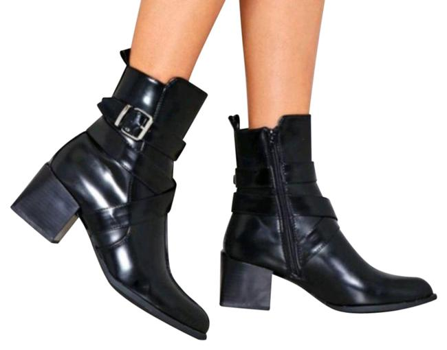 Item - Black Faux Leather Buckle Ankle New Boots/Booties Size US 7 Regular (M, B)