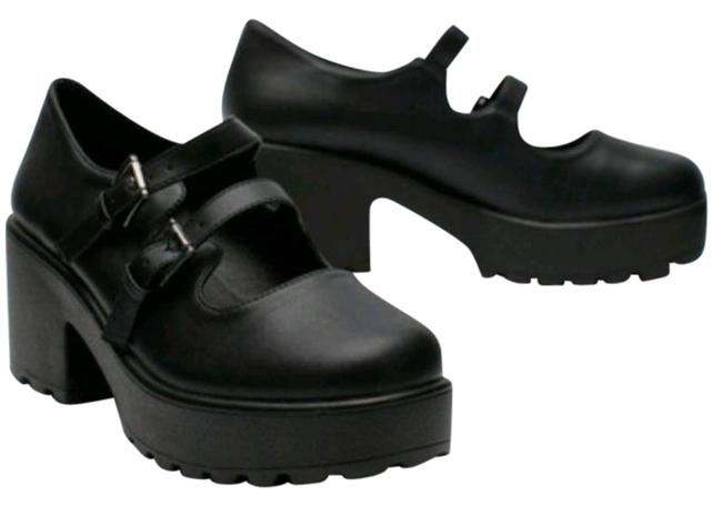 Item - Black Faux Leather Cleated Mary Janes New Platforms Size US 7 Regular (M, B)