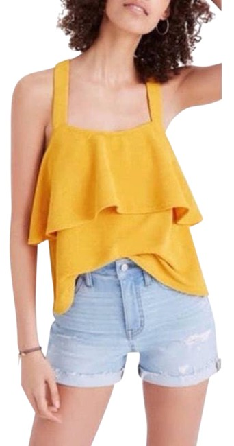 Item - Yellow Texture Thread Tiered Tank Top/Cami Size 14 (L)