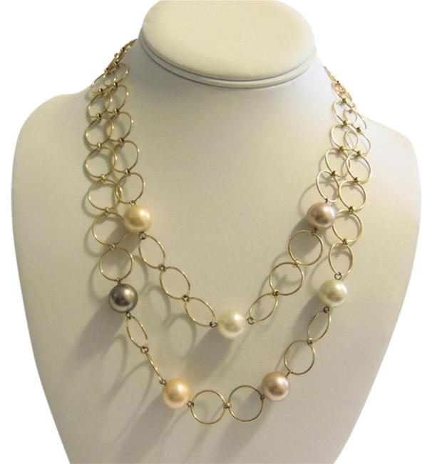 """Pearlfection Goldtone Faux Multi-color South Sea Pearl Necklace 16"""" Bracelet Pearlfection Goldtone Faux Multi-color South Sea Pearl Necklace 16"""" Bracelet Image 1"""