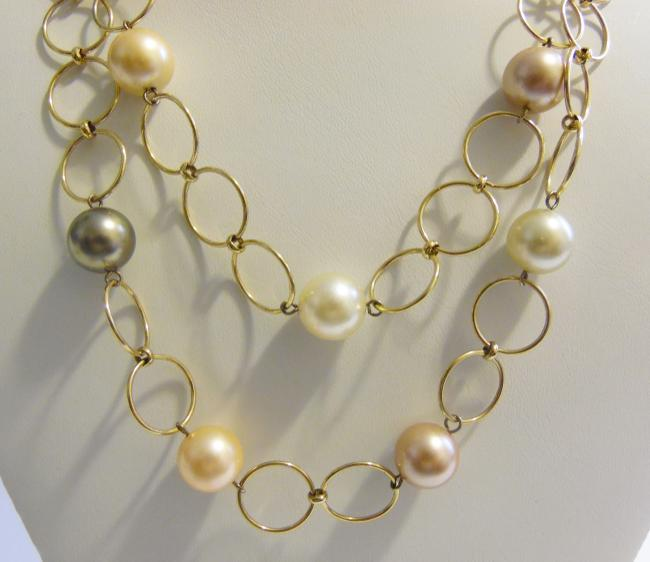 """Pearlfection Goldtone Faux Multi-color South Sea Pearl Necklace 16"""" Bracelet Pearlfection Goldtone Faux Multi-color South Sea Pearl Necklace 16"""" Bracelet Image 2"""