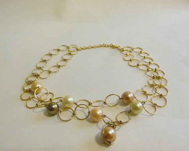 """Pearlfection Goldtone Faux Multi-color South Sea Pearl Necklace 16"""" Bracelet Pearlfection Goldtone Faux Multi-color South Sea Pearl Necklace 16"""" Bracelet Image 4"""