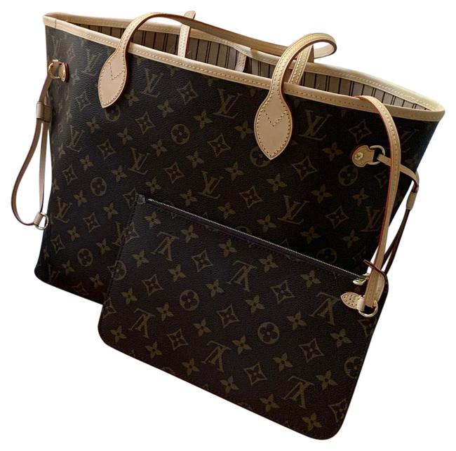 Item - Neverfull Mm Monogram Brown and Beige Coated Canvas Leather Tote