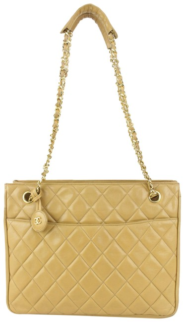 Item - Chain Quilted Shoppertote 593cas615 Beige Lambskin Leather Shoulder Bag