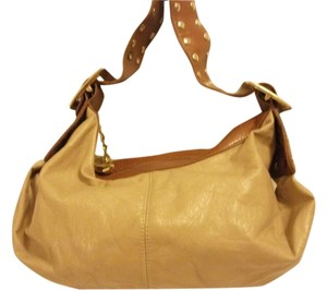 CMZ Polyvinyl Tan Gold Hardware Shoulder Bag