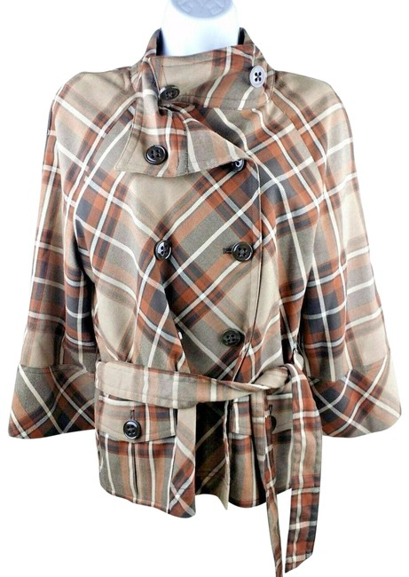 Item - Brown Medium Plaid Button Front Belt Double Breasted Jacket Size 8 (M)
