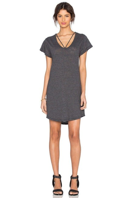 Item - Gray Womens Sleeve Strappy T Tee Mini Short Casual Dress Size 8 (M)
